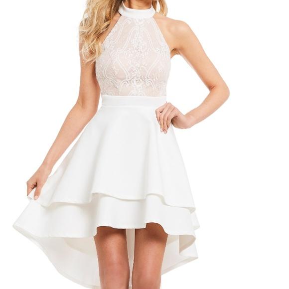 f533177d45a Jodi Kristopher High Low Lace Bodice Dress